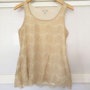 Banana Republic Lace Cream Blouse Top Sleeveless